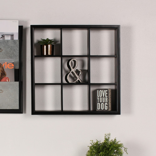 DesignOvation Corri Square Divided Cubby Wood Wall Accent Shelf