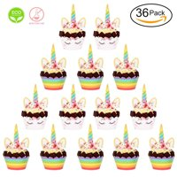Unicorn Cupcake Toppers and Wrappers Double Sided Birthday Party Favors Cake Decorations Supplies Set of 36