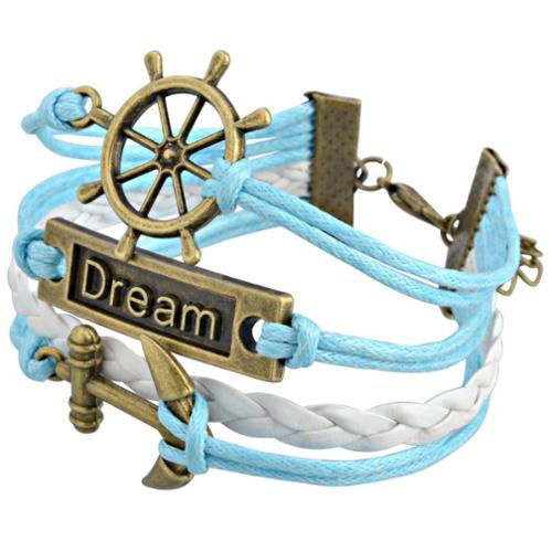 Zodaca Fashion Leather Cute Infinity Charm Bracelet Jewelry Silver lots Blue/White Voyage