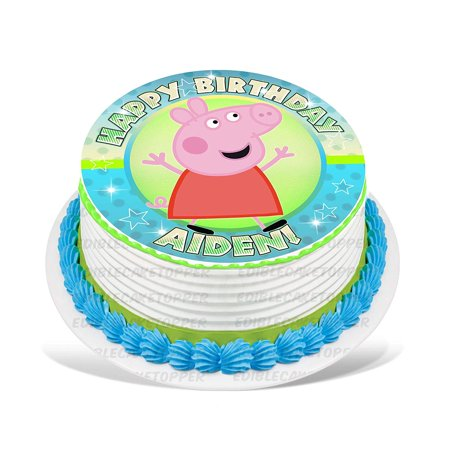 Peppa Pig Cake Toppers (Peppa Pig Edible Cake Image Topper Personalized Picture 8 Inches)