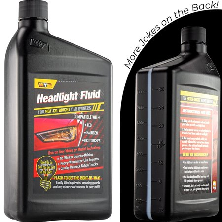 Headlight Fluid Car Gag Gift Makes Hilarious Fun of Automobile Inept Pals. A Hysterical Hit for Secret Santa and White Elephant Parties! Give Your Friend or Frenemy a Funny Prank - Homemade Gag Gifts