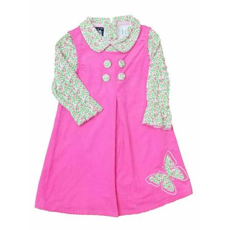 Infant Baby Girls Pink Corduroy Party Jumper Dress Flower Rose Body - Pink Corduroy Jumper
