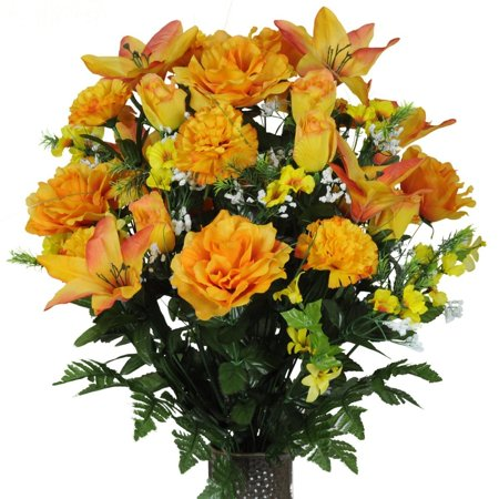 Orange Lily and Yellow Rose Mix Artificial Bouquet, featuring the Stay-In-The-Vase Design(c) Flower Holder (LG1095) (Gala Bouquet Holder)