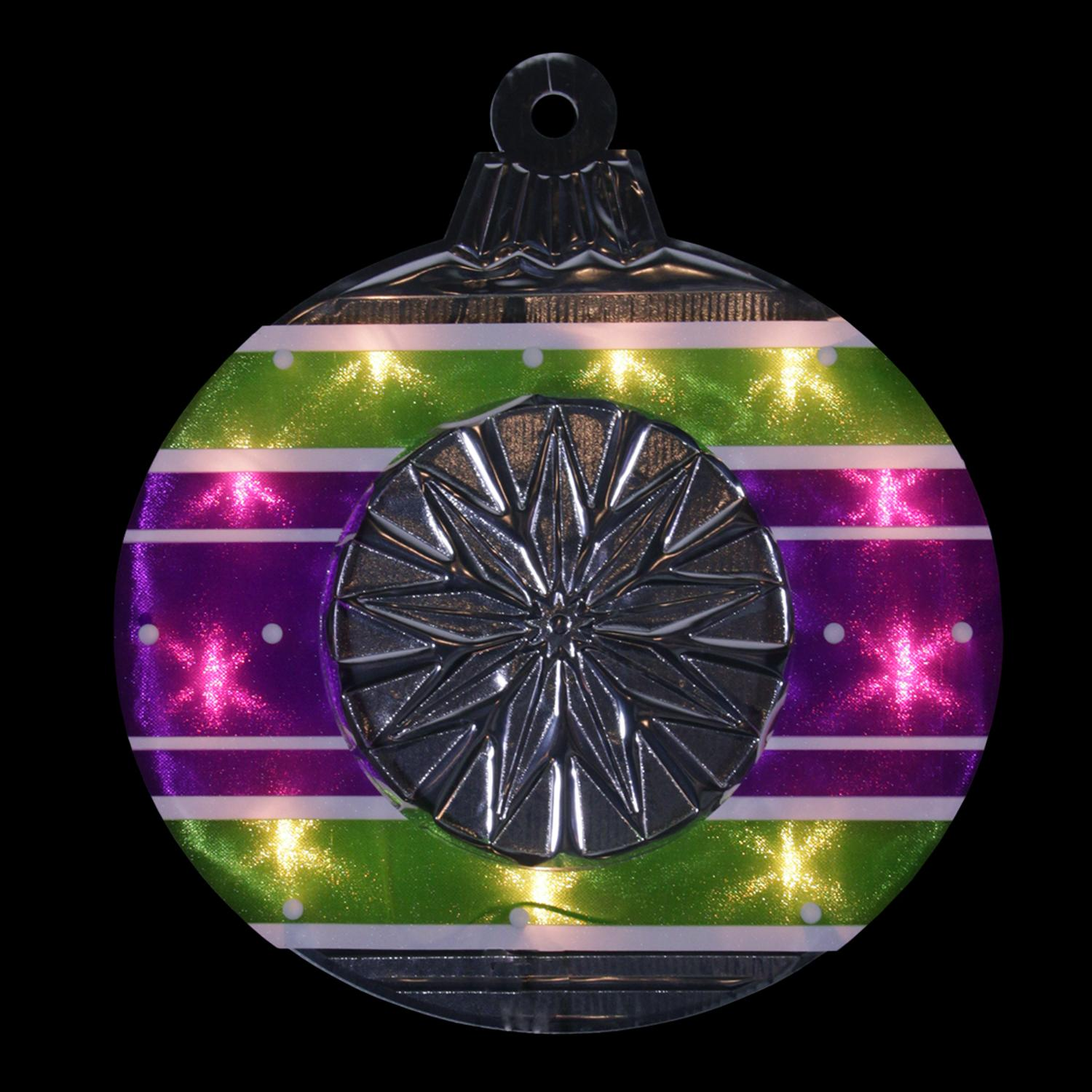 """15.5"""" Lighted Shimmering Purple, Green, White & Silver Ornament Christmas Window Silhouette Decoration - image 1 of 1"""