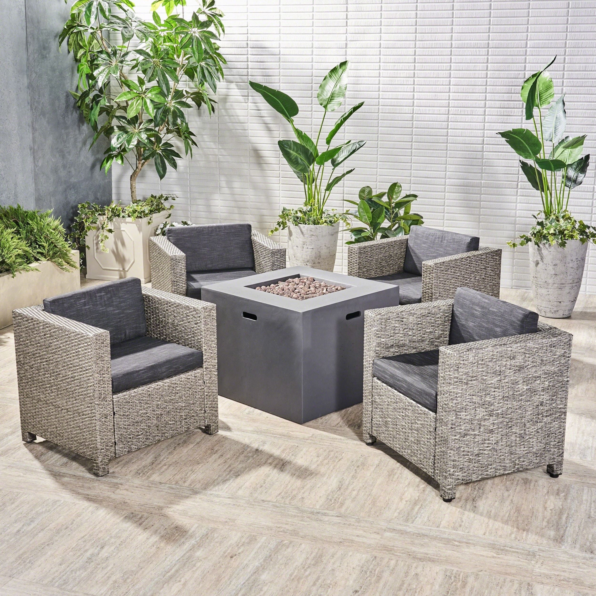 Christopher Knight Home Maxwell Outdoor 4 Piece Club Chair Set with Square Fire Pit by