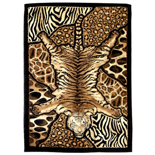 DonnieAnn Company Skinz 72 Mixed Brown Tiger and Animal Skins Print Patchwork Area Rug