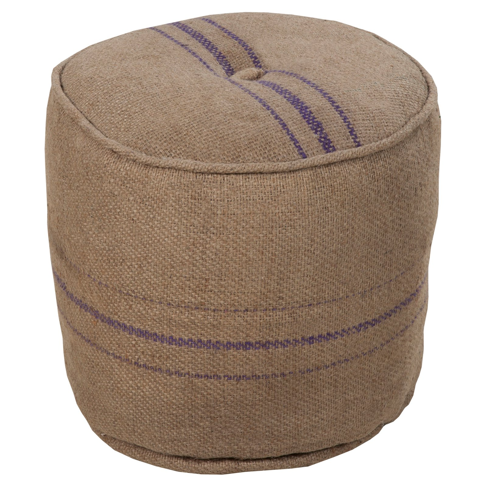 Surya 18 in. Round Jute Pouf Desert Sand   Purple by Surya Rugs