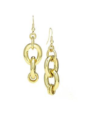 X & O 18KT Gold Plate classic double drop hoop earring