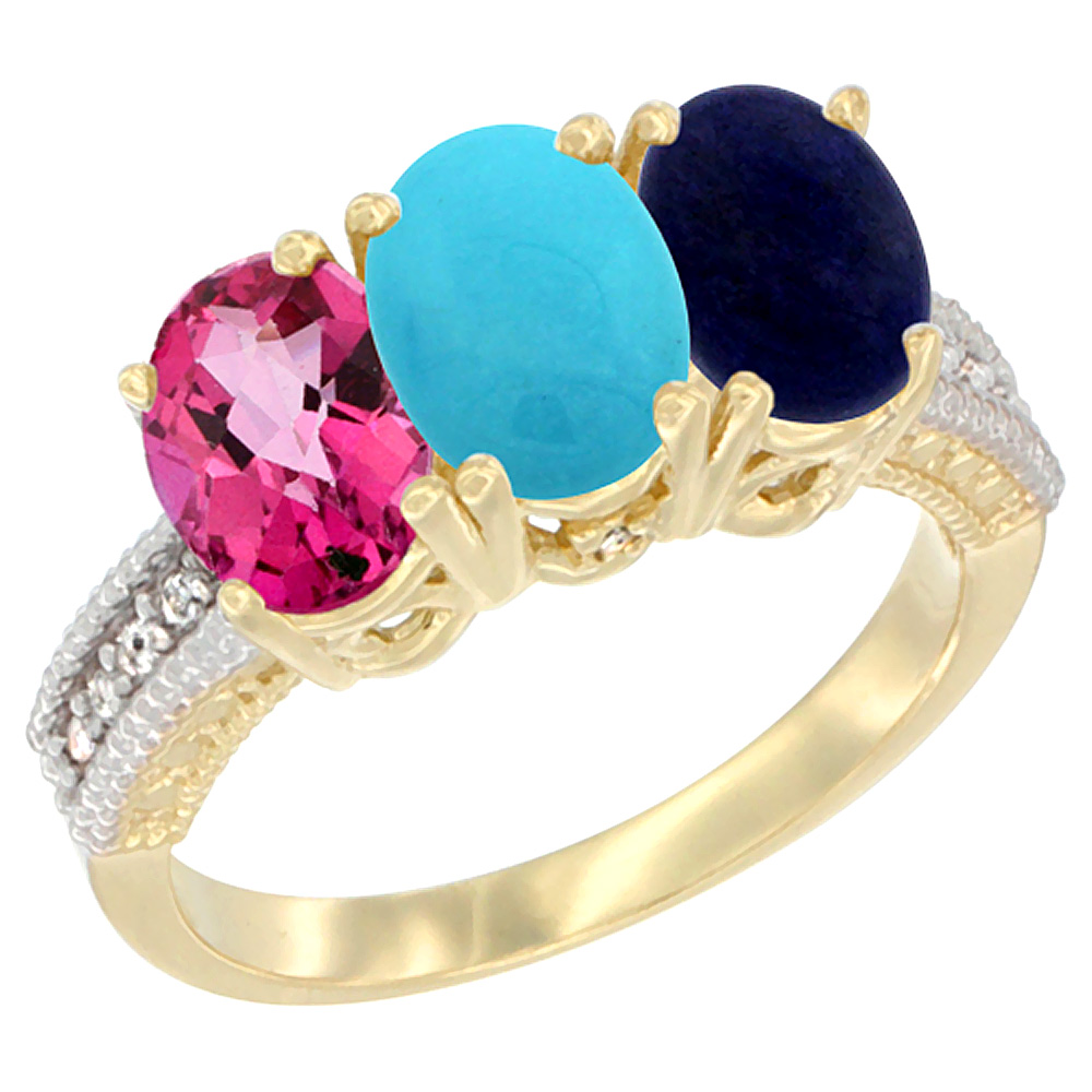 10K Yellow Gold Diamond Natural Pink Topaz, Turquoise & Lapis Ring 3-Stone 7x5 mm Oval, sizes 5 10 by WorldJewels
