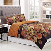 Superior Sunburst Reversible 300 Thread Count Cotton Reactive Print Duvet Cover Set