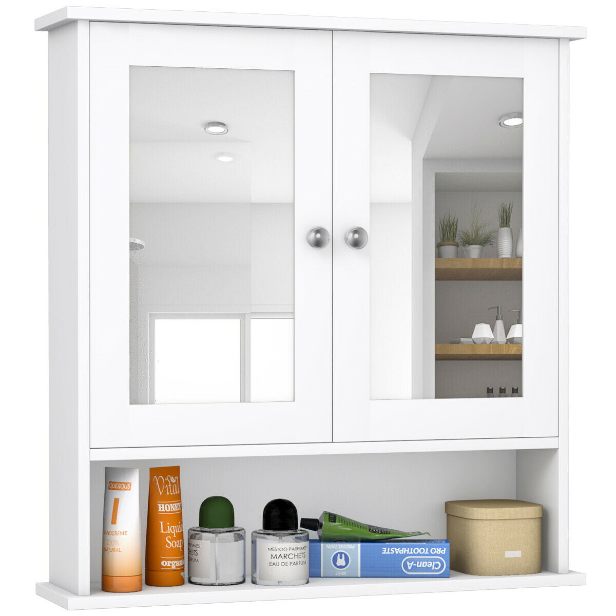 Costway New Bathroom Wall Cabinet Double Mirror Door Cupboard Storage Wood Shelf White Walmart Com Walmart Com