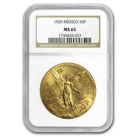Platinum Ngc Coin Set - 1929 Mexico Gold 50 Pesos MS-65 NGC