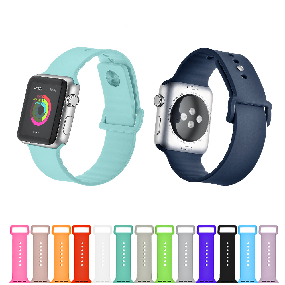 Improved Macaron Colors Replacement Sport Soft Silcone Strap Band for Apple Watch Series 3, Series 2, Series 1, Sport , Edition, 42mm, L Size