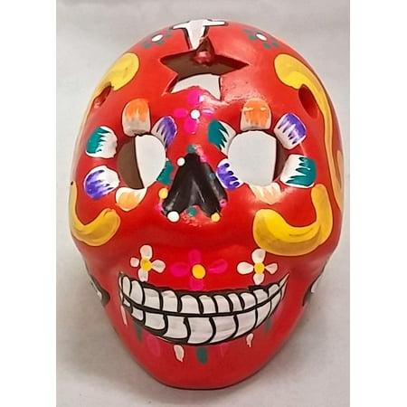 Calavera Bowl - Day of the Dead Red Sugar Skull Calavera Peruvian Earthenware Figurine