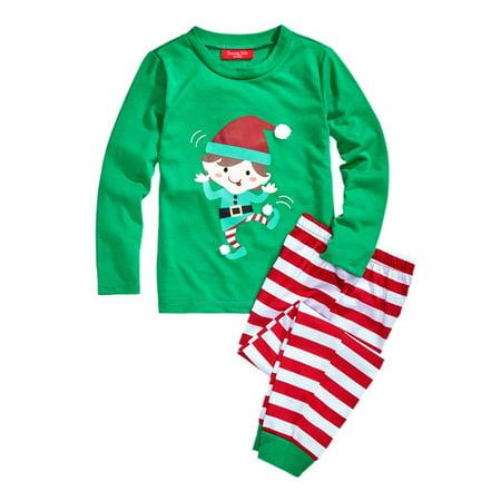 Kids Elf Pajamas (Family PJs Elf Kids Christmas Two-Piece)