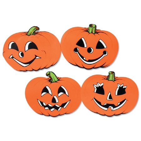 Club Pack of 48 Assorted Orange Pumpkin Cutout Halloween Decorations 12