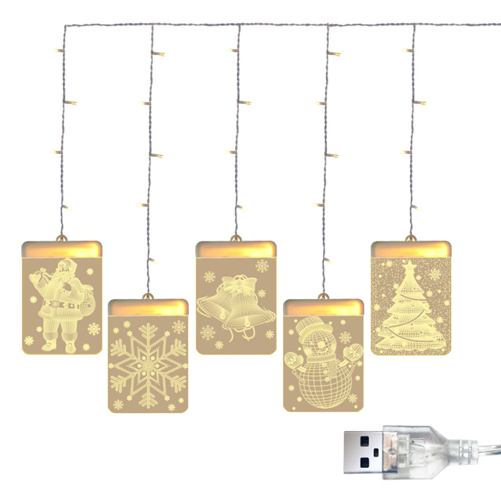 Christmas String Lights LED Decorative Novelty Hanging 3D Lights for Indoor Windows Wall Door Bedroom Outdoor Pathway Walkway Patio Decorations Warm White