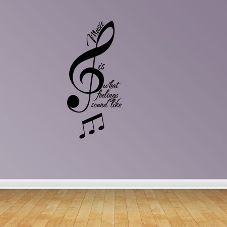 Music Is Quote Treble Bass Clef Vinyl Wall Decals Vinyl Decals Music Decal JP2 (Drop The Bass Decal)