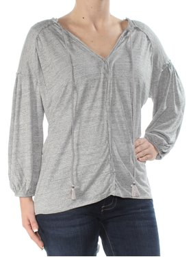 468489cb Product Image FREE PEOPLE Womens Gray Long Sleeve V Neck Top Size: XS