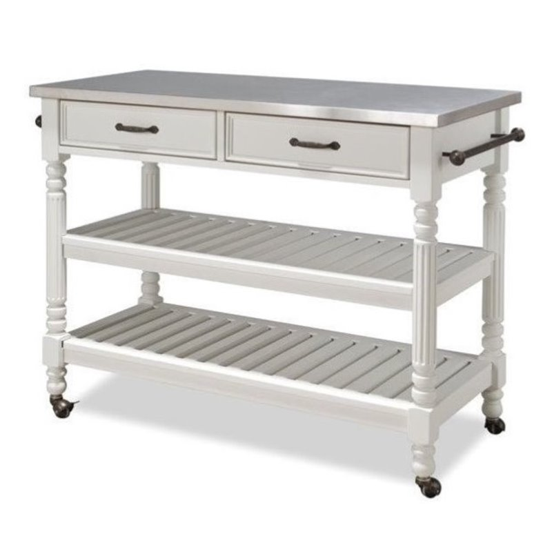 Cocina Kitchen Cart With Stainless Steel Top: Bowery Hill Stainless Steel Top Kitchen Cart In White