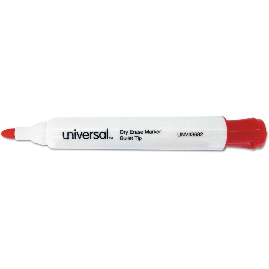 Universal Dry Erase Marker, Bullet Tip, Red, Dozen