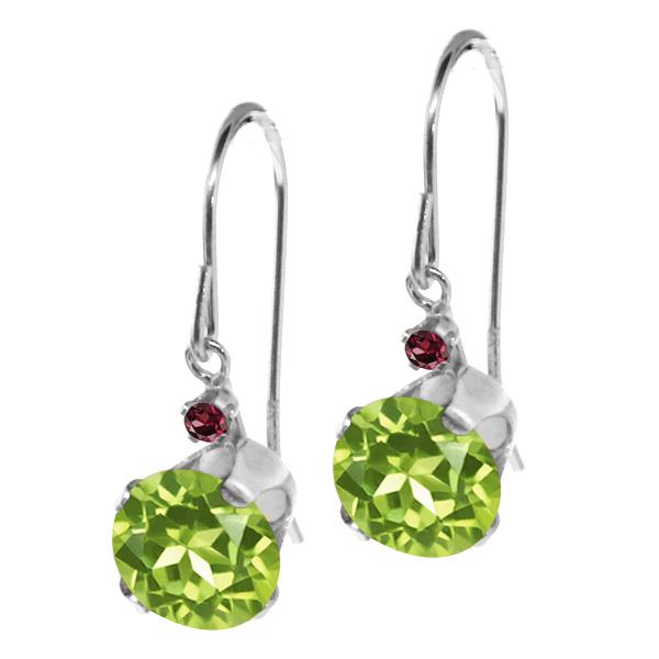 1.85 Ct Round Green Peridot Red Rhodolite Garnet 14K White Gold Earrings