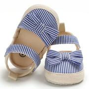 Seyurigaoka Baby Bowknot Prewalker Stylish Canvas Non Slip Comfortable Sandals