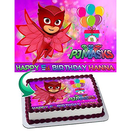 OWLETTE PJ MASKS Edible Cake Topper Personalized Birthday 1 4 Sheet Decoration Custom Party