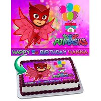 OWLETTE PJ MASKS Edible Cake Topper Personalized Birthday 1/4 Sheet Decoration Custom Sheet Party Birthday Sugar Frosting Transfer Fondant Image Edible Image for cake