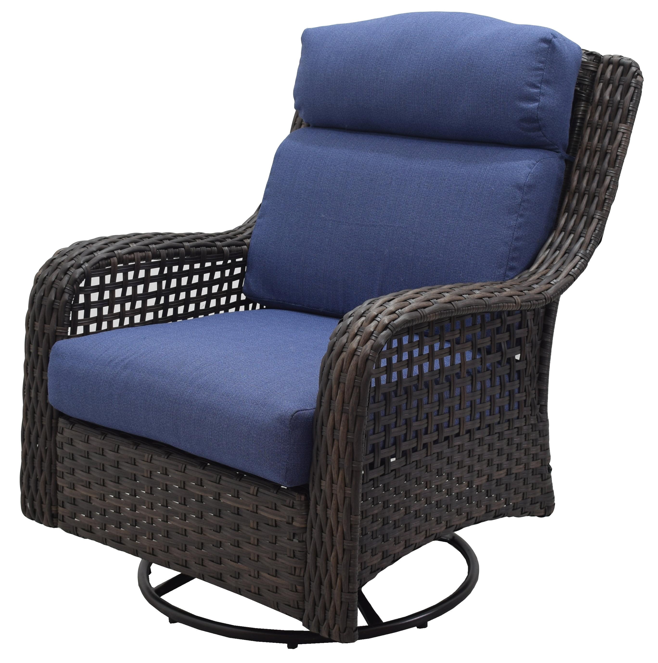 Better Homes Gardens Ravenbrooke 4 Piece Patio Conversation Set With Blue Cushions