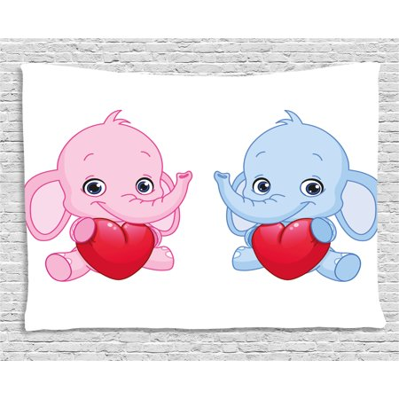 Elephant Nursery Decor Tapestry, Pink and Blue Kid Infant Elephants Holding Hearts Smiling Twins, Wall Hanging for Bedroom Living Room Dorm Decor, 80W X 60L Inches, Pink Blue Red, by - Smiling Elephant