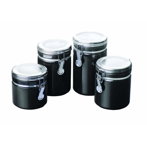kitchen canisters black anchor hocking 4 ceramic canister set black 12961