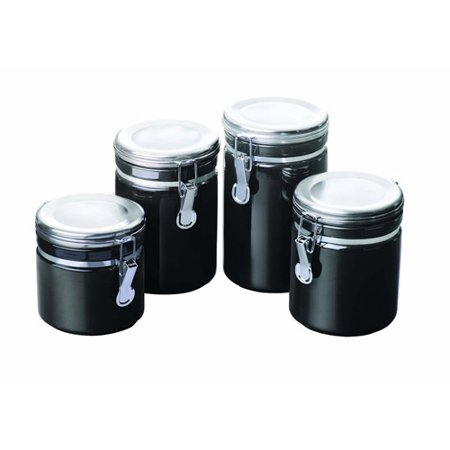 cheap kitchen canister sets anchor hocking 4 piece ceramic canister set black walmart com 7548