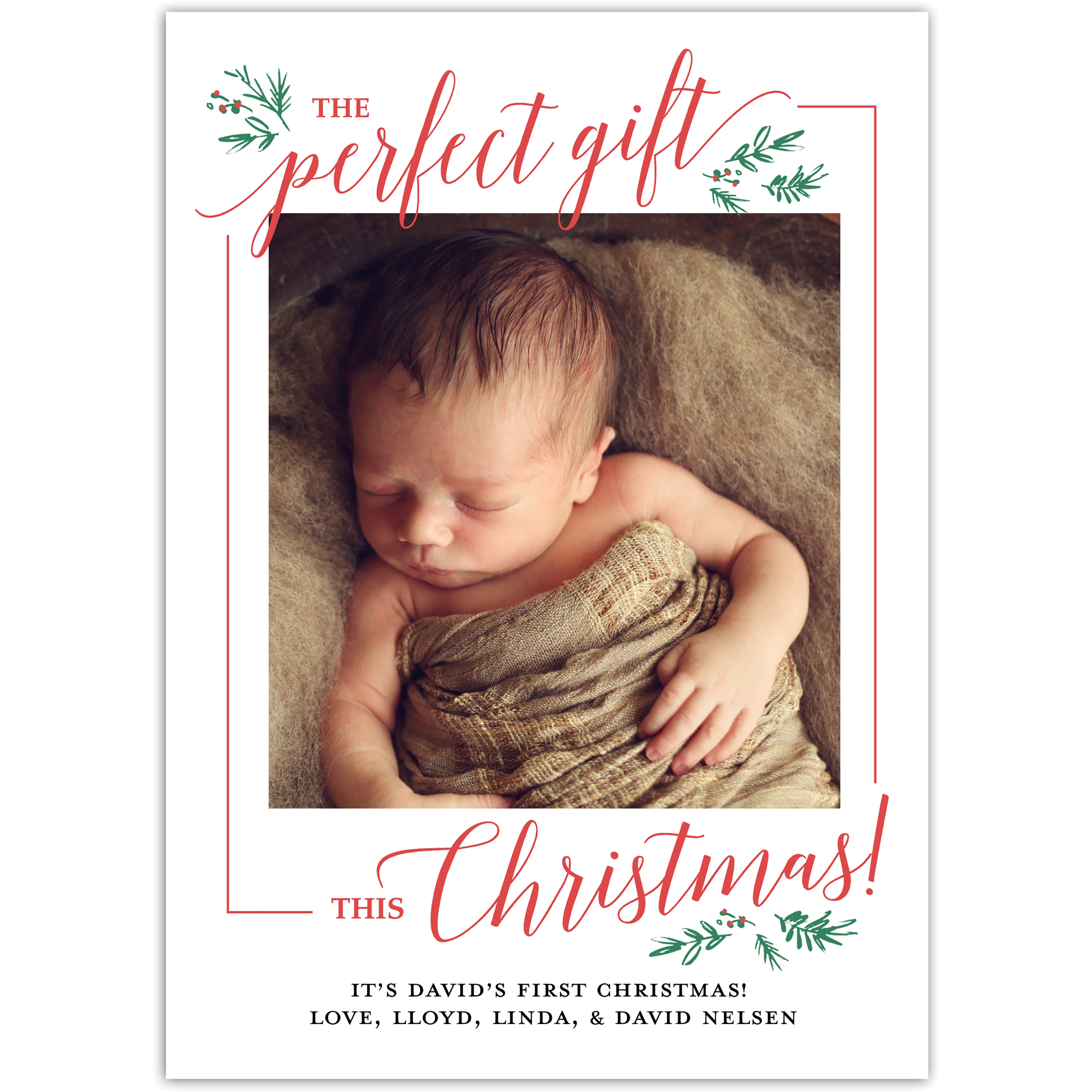 Baby's First - 5x7 Personalized Baby's First Christmas Card