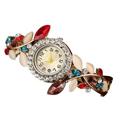 ZEDWELL Fashion Women's Colorful Gem Diamond Crystal Hollow Bracelet Quartz Wristwatches Multi Gemstone Watch