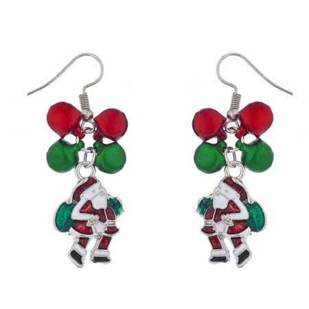 Lux Accessories Silver Tone Red Green Christmas X-Mas Jingle Bell Santa Earrings Red Christmas Earrings