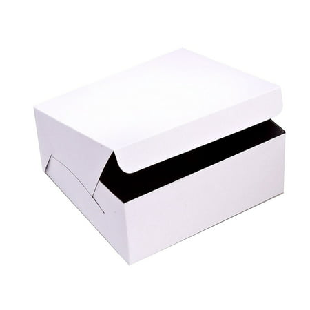 SafePro 10105, 10x10x5-Inch Cardboard Cake Boxes, Take Out Disposable Paper Cake Pie Containers, Wholesale White Bakery Box - Cardboard Cake Boxes