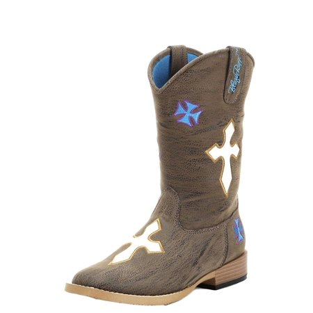 Cowboy Brown Boots (Blazin Roxx Western Boots Girls Sierra Cowboy Kid Floral Brown 4470802)