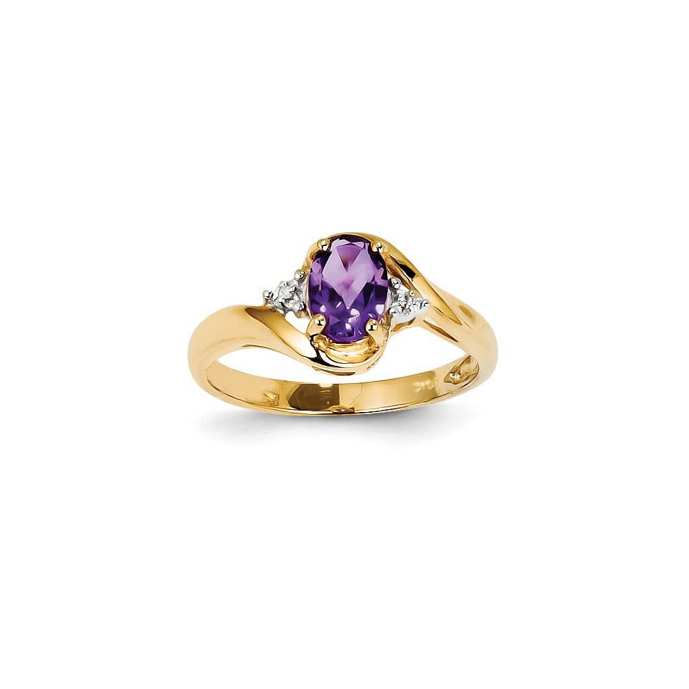 14k Yellow Gold Diamond and Amethyst Oval Gemstone Ring. Gem Wt- 0.6ct
