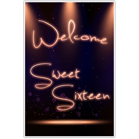 Black and Gold Sweet 16 Sixteen Birthday Banner