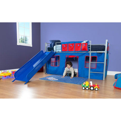 Boys Bed Boys Twin Loft Bed With Slide Grey And Blue  Walmart