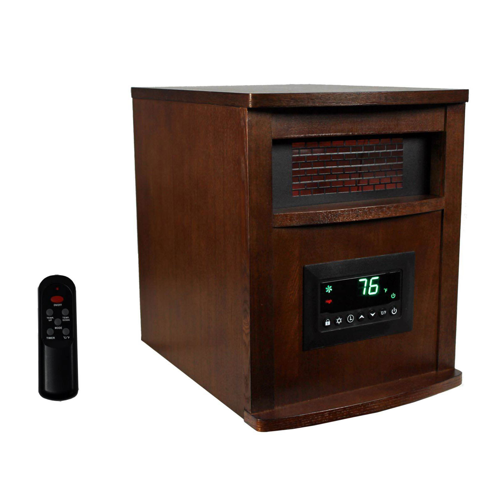 Wood Cabinet Low Noise Space Heater L Remote Control and Timer Electric Heater with Overheat/&Tip-Over Shut Off Protection 1500W Room Heater with 3 Heating Modes Brown for Bedroom and Office