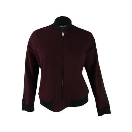 RALPH LAUREN Womens Burgundy Satin-striped Baseball Jacket  Size: XL
