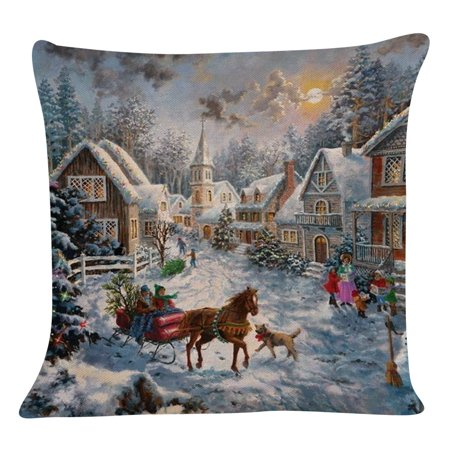 New Christmas Cotton Linen Pillow Case Sofa Cushion Cover Home Decor