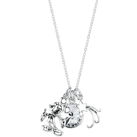 Disney Piglet Jewelry - Disney 10mm Clear Crystal Silver-Tone If You Can Dream It You Can Do It Mickey Mouse Necklace, 18