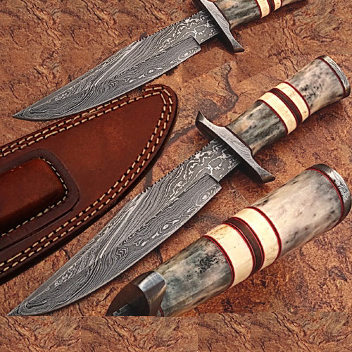 Custom Made Damascus Steel Hunting Knife w  Giraffe & Camel Bone by