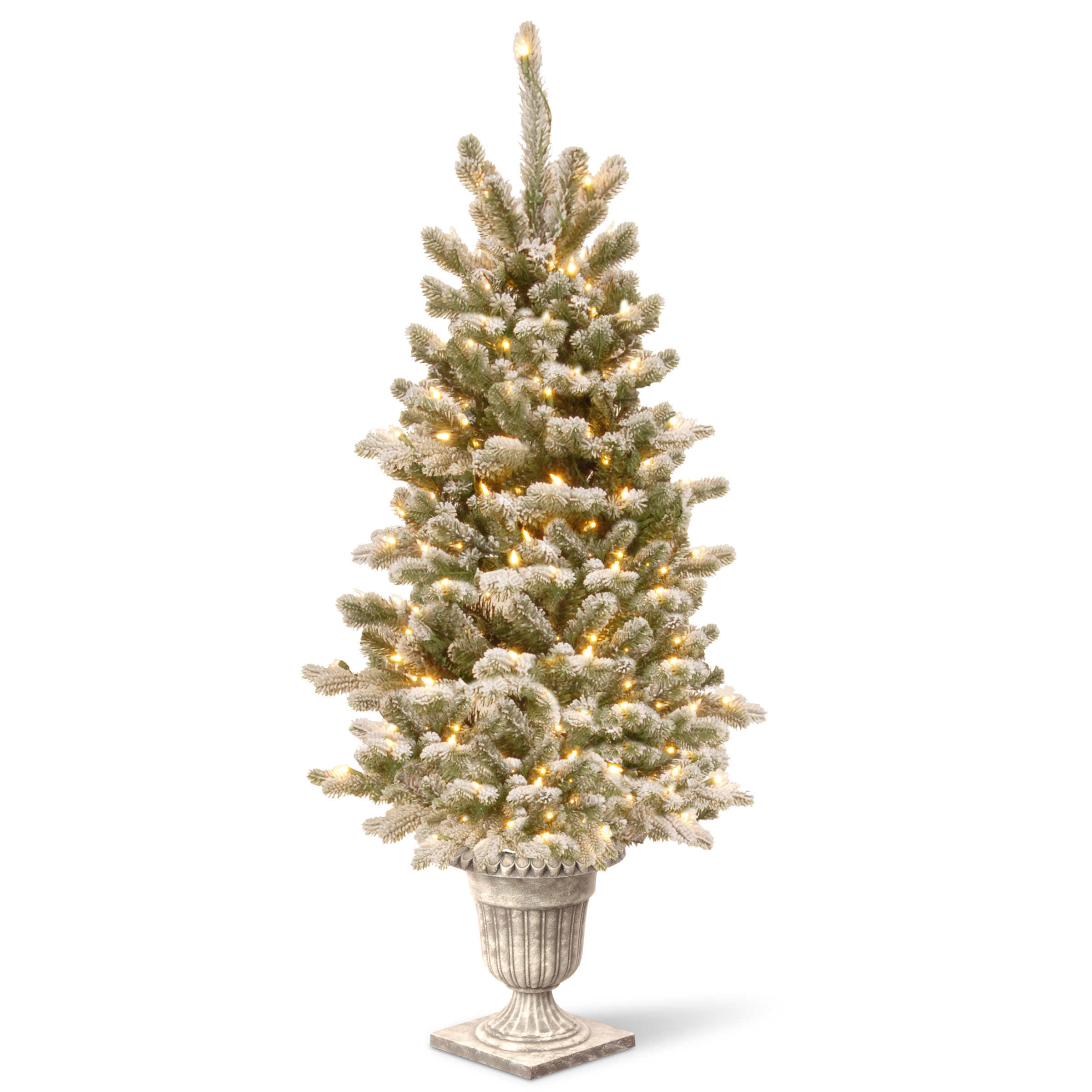 National Tree Company National Tree 4 ft Snowy Sheffield Spruce Entrance Tree with Clear Lights