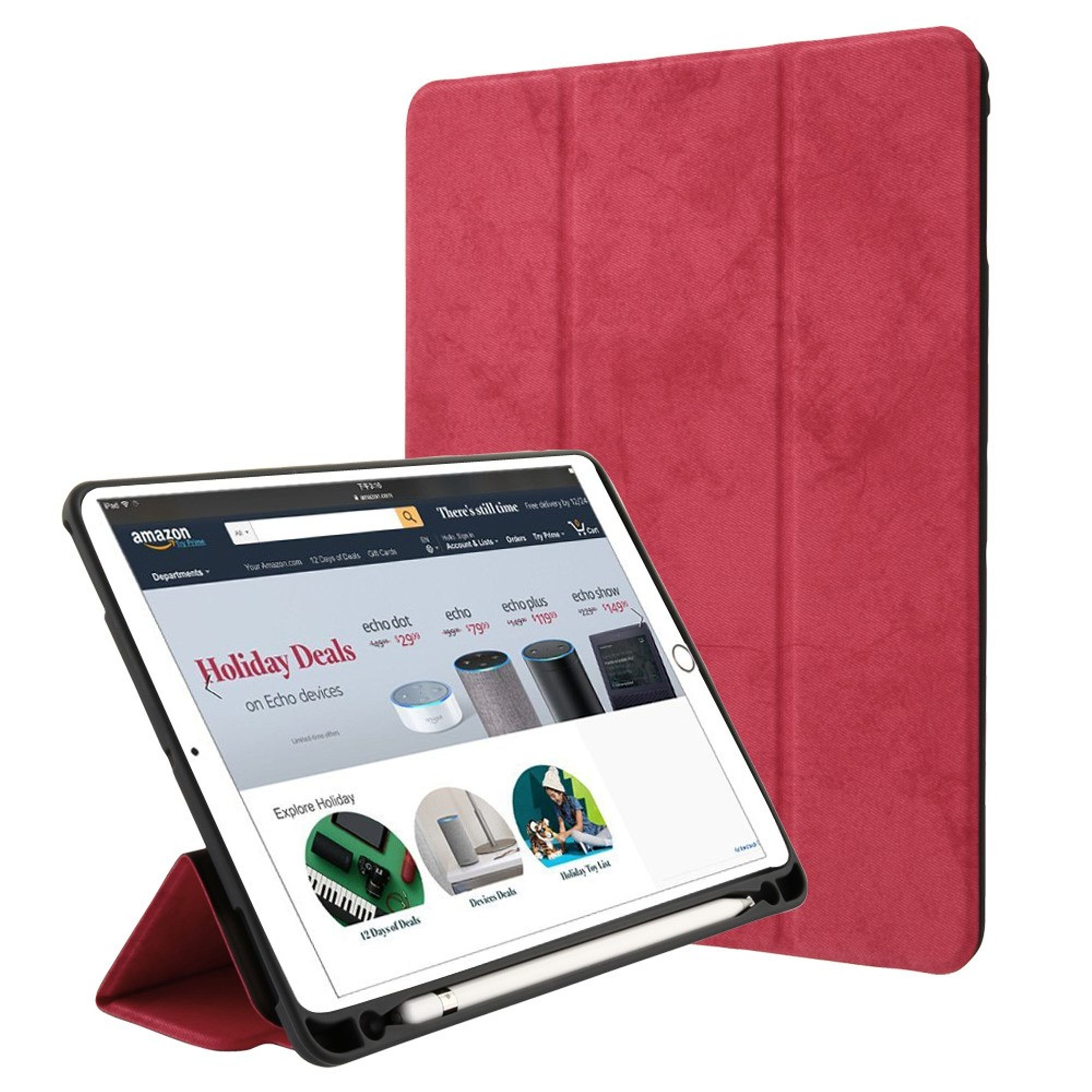 """Insten Stand Folio Flip Leather Case Phone Cover For Apple iPad 9.7"""" (2017)/9.7"""" (2018)/Air/Air 2/Pro 9.7"""" - Red"""