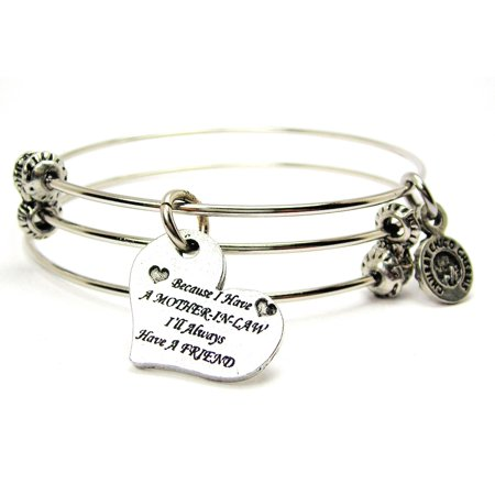 Because I Have A Mother In Law I'll Always Have A Friend Expandable Wire Triple Style Bangle Bracelet,