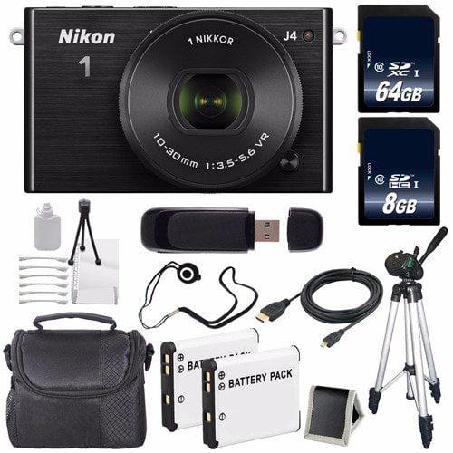 Nikon 1 J4 Mirrorless Digital Camera with 10-30mm Lens (Black) (International Model No Warranty) + EN-EL22 Battery + 72GB Total Memory + 6AVE Bundle